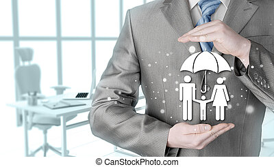 businessman protecting family Insurance concept