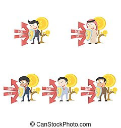 Businessman protecting his coin tree form debt and tax different race set