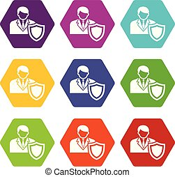 Businessman protection icons set 9 vector