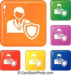 Businessman protection icons set vector color