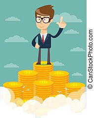 businessman proudly standing on the huge money staircase.