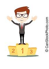 Businessman proudly standing on the winning podium