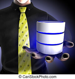 Businessman providing a database
