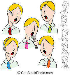 Businessman Public Speaker Microphone Set - An image of a ...