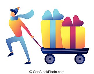 Businessman pulling a trolley or cart with christmas presents vector illustration.
