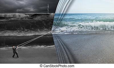 businessman pulling open calm sea curtain covered dark...