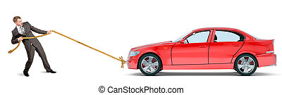Businessman pulling red car