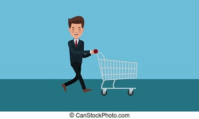 Businessman pulling shopping cart HD animation