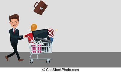 Businessman pulling shopping cart with products