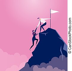 Businessman pulls partner to the top of mountain - Business concept vector