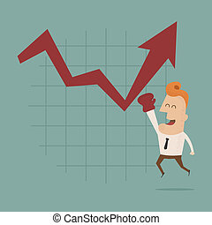 Businessman punch growing graph , eps10 vector format