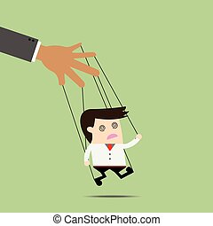 Businessman puppet on ropes. Business manipulate behind the...