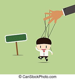 Businessman puppet on ropes good way. Business manipulate behind the scene concept