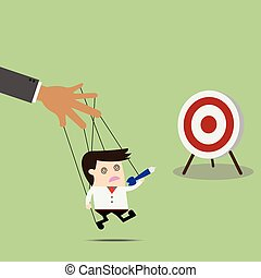 Businessman puppet on ropes to target. Business manipulate behind the scene concept