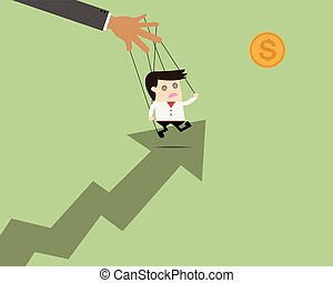 Businessman puppet on ropes to target. Business manipulate behind the scene concept1
