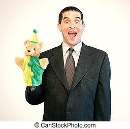 Businessman Puppet Surprise - Surprised, happy businessman ...