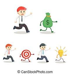 businessman pursuit set illustration design
