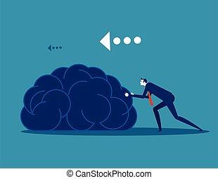 Businessman push brain. Concept business vector illustration. Flat design style.