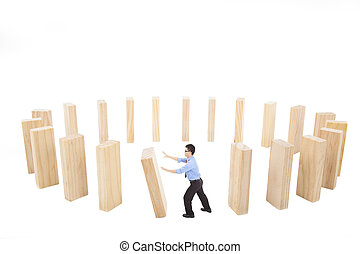 businessman push down the wall in circle. business loop ...