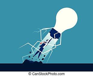 Businessman push light bulb. Concept business ideas vector illustration.