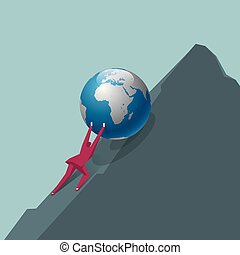 Businessman pushes the earth. Go to the top of the mountain.