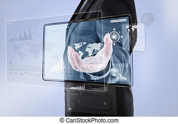 Businessman pushing a button on digital vurtual screen  (Elements of this image furnished by NASA)