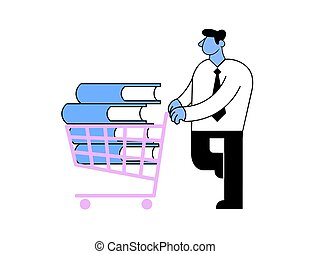 Businessman pushing a shopping cart with a stack of books in it. Education and personal growth concept. Flat vector illustration. Isolated on white background.