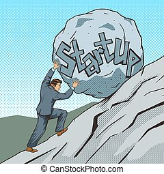 Businessman pushing a stone uphill pop art vector -...
