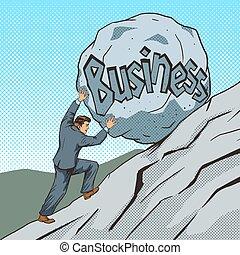 Businessman pushing a stone uphill pop art vector
