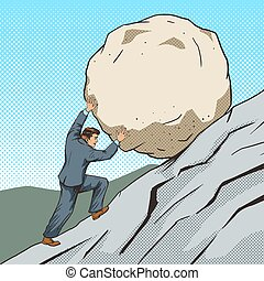 Businessman pushing a stone uphill pop art vector