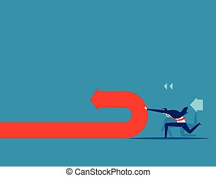 Businessman pushing and changing arrow direction. Concept business vector illustration.