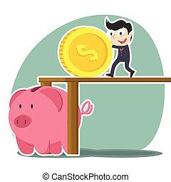 businessman pushing big coin into piggy bank