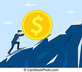 businessman pushing big coin up hill