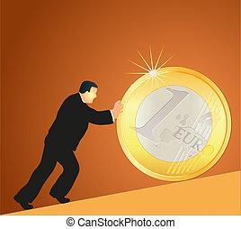 Businessman pushing big Euro coin a