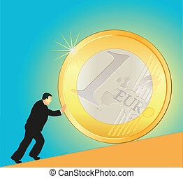 Businessman pushing big Euro coin