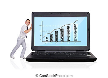 laptop with business chart