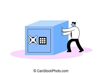 Businessman pushing big safe box. Flat vector illustration. Isolated on white background.