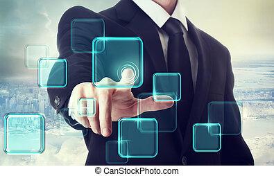 Businessman pushing button