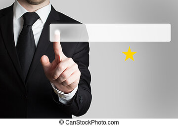 businessman pushing button one golden star - businessman in...