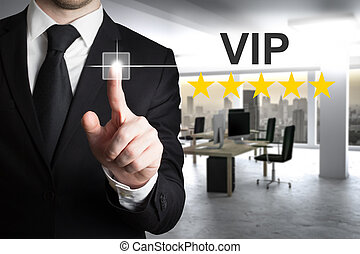 businessman pushing button vip