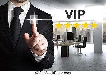 businessman pushing button vip