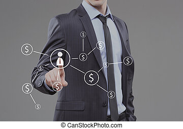 Businessman pushing button with icon worker. dollar virtual