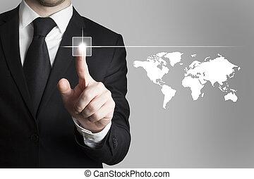 businessman pushing button worldmap global - businessman in...