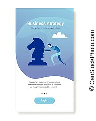 businessman pushing chess figure brainstorming planning process business strategy concept flat vertical copy space