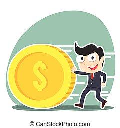 businessman pushing coin illustration design