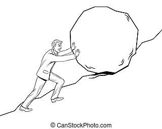 Businessman pushing rock stone uphill coloring vector illustration. Isolated image on white background. Hard work metaphor. Comic book style imitation.