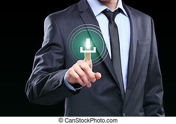 Businessman pushing download icon with virtual screen.