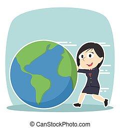Businessman pushing earth illustration victor