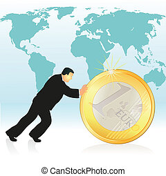 Businessman pushing Euro coin in fr