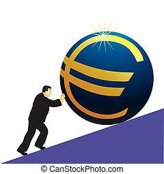 Businessman pushing Euro symbol